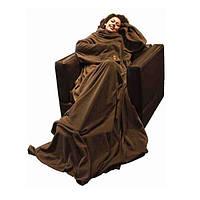 Плед с рукавами флис. Шоколадный плотность 180