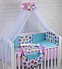 """Ліжко в дитячу ліжечко """"Сови кольорові з бірюзовим і рожевим перцем"""""""
