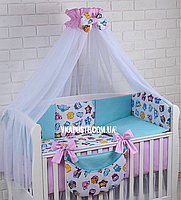 """Постель в детскую кроватку """"Совы цветные с бирюзовым и розовым горошком"""", фото 1"""