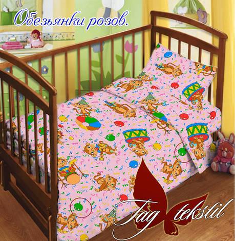 Детское постельное белье в кроватку для девочек Обезьянки (простынь на резинке), фото 2