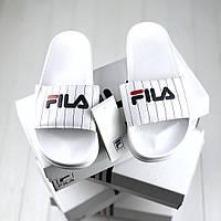 Мужские шлепанцы\сланцы Fila Slippers White #2 (Реплика AAA+)