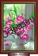 Схема для вышивки бисером «Розовые ирисы в вазе»