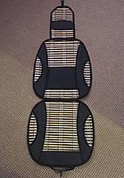 Накидка сидения бамбуковая SH-35 BK (2 шт.) с подголовником черная,соломка+винил, фото 1