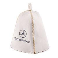 Шапка для сауны с вышивкой ' Mercedes ' (светло-серый войлок), Saunapro