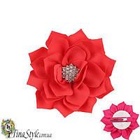 Заколочка детская Красная Цветок красный цвет Королева для день рождения на годик