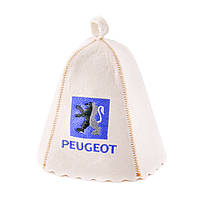 Шапка для сауны с вышивкой ' Peugeot ' (светло-серый войлок), Saunapro