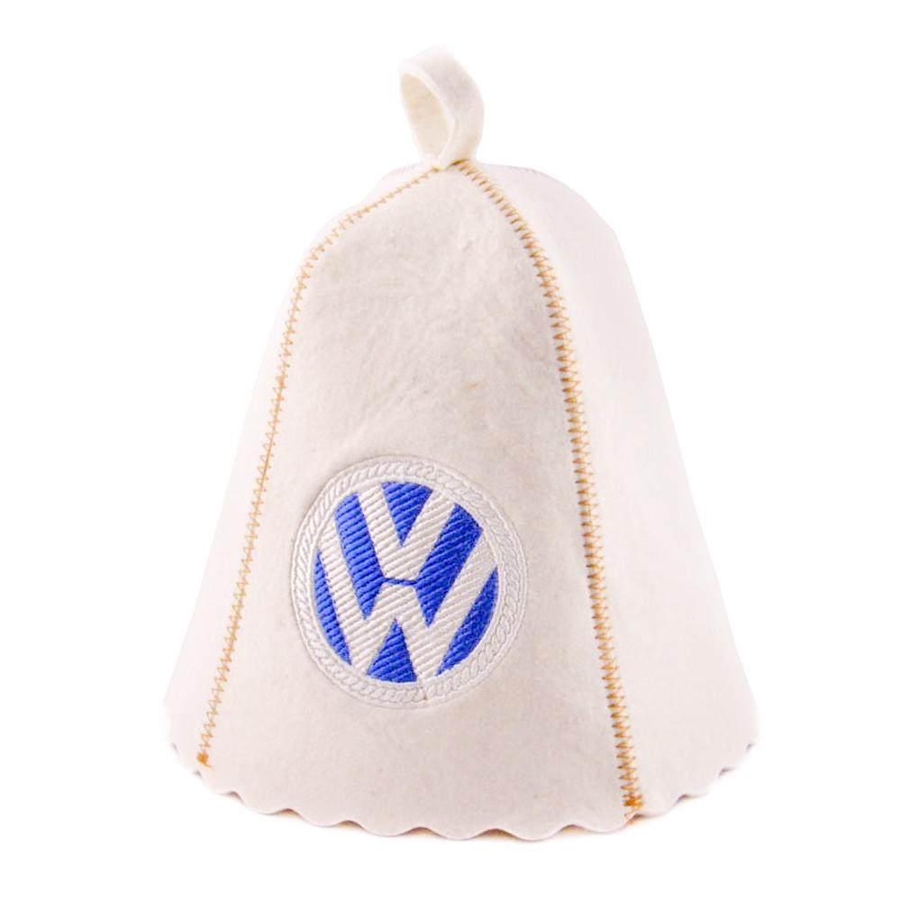 Шапка для сауны с вышивкой ' Volkswagen ' (светло-серый войлок), Saunapro