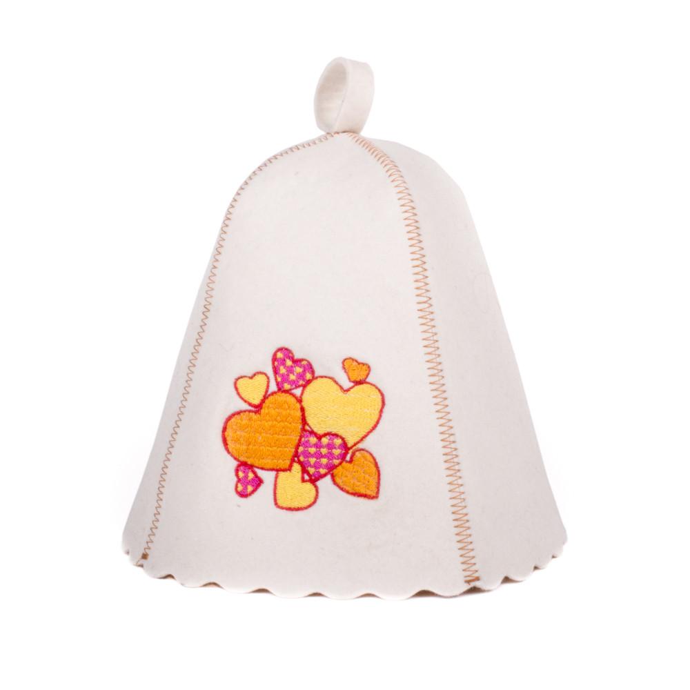 Шапка для сауны с вышивкой Парад Сердец, Saunapro