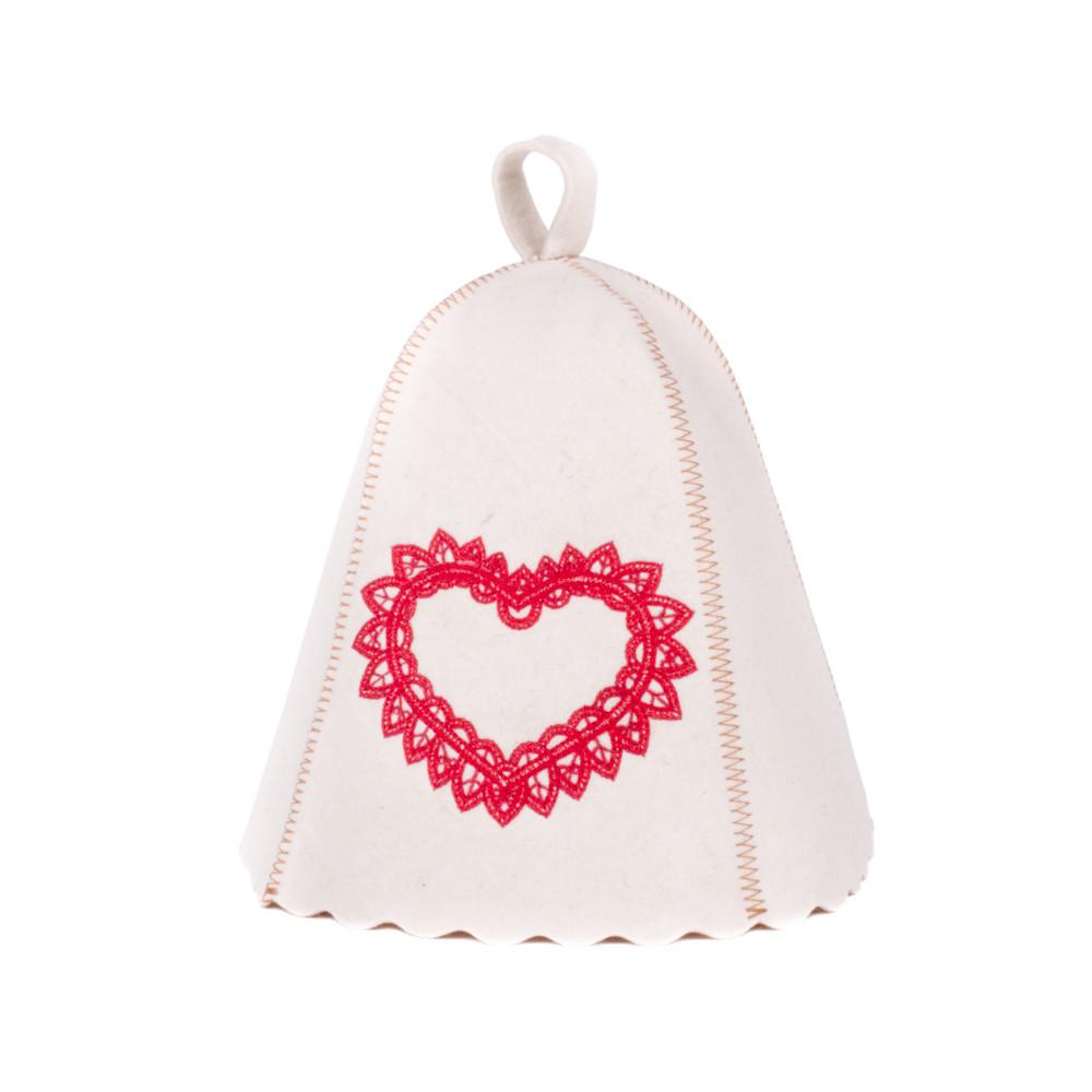 Шапка для сауны с вышивкой Сердце ажур, Saunapro