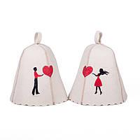 Набор шапок банных с вышивкой Влюбленные, Saunapro