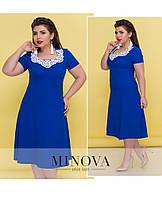 Женское платье с расклешенным подолом, короткий рукав. Ткань стрейч-лён. Размер 54, 56, 58, 60, 62, фото 1