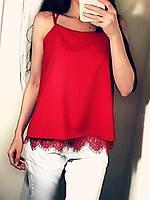 Женская шелковая красная блуза с кружевом