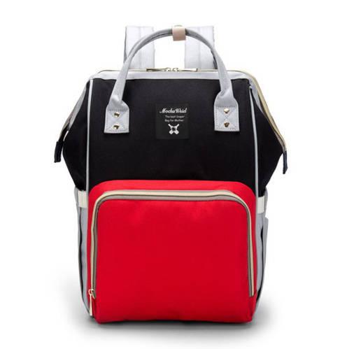 Рюкзак органайзер для мамы черный с красным
