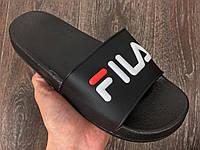 Мужские шлепанцы\сланцы Fila Slippers Black #3 (маломерки) (Реплика AAA+)