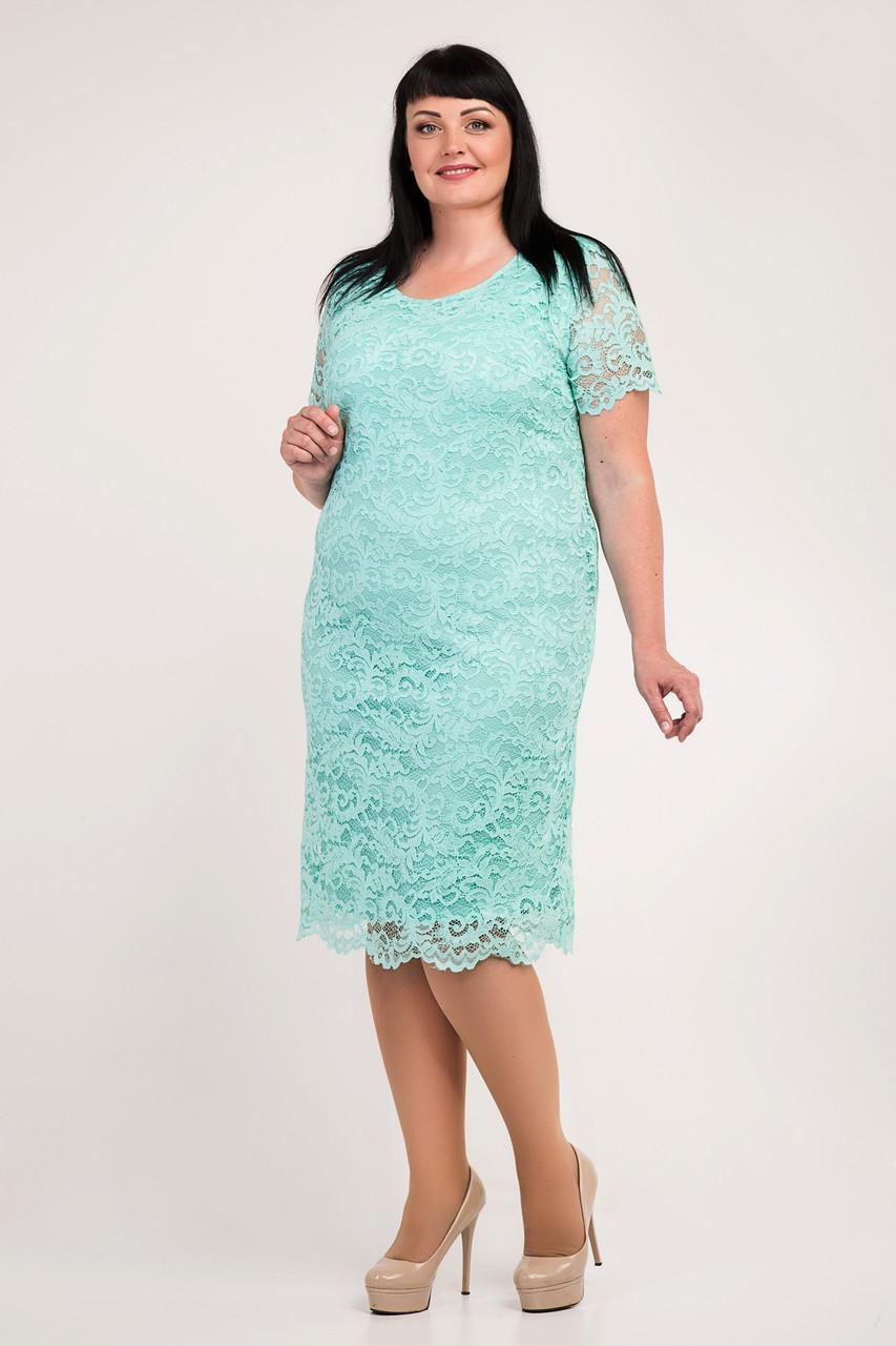 Святкова м'ятна сукня з мережива 54,56,58