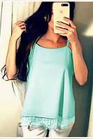 Женская шелковая мятная блуза с кружевом