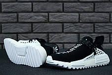 Кроссовки мужские Adidas x Pharrell Williams NMD черные с белым топ реплика, фото 3