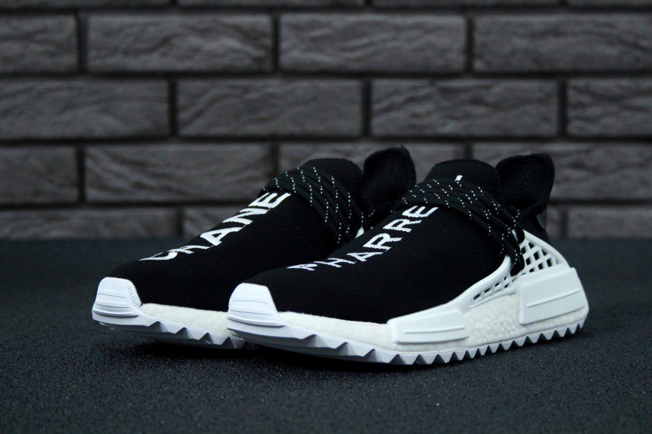 Кроссовки мужские Adidas x Pharrell Williams NMD черные с белым топ реплика
