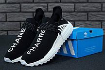 Кроссовки мужские Adidas x Pharrell Williams NMD черные с белым топ реплика, фото 2