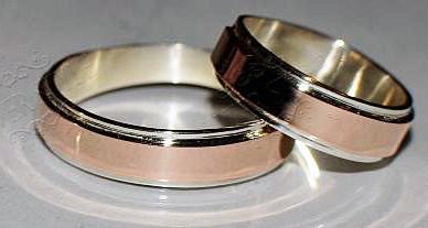 Серебряное обручальное кольцо с накладками золота (Обр5)