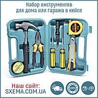 Набор инструментов для дома или гаража молоток, отвертки, пассатижи, рулетка, нож, в кейсе, фото 1