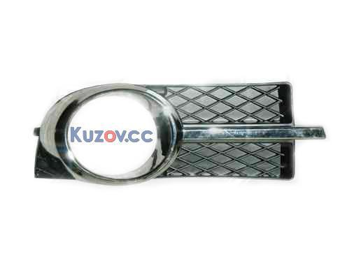 Решетка бампера Chevrolet Aveo 06-11 под ПТФ, левая (комплектс хром. накладкой) (FPS)