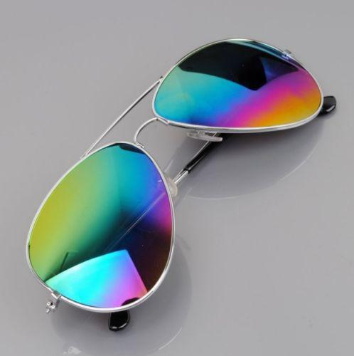 Очки авиатор  разноцветные золотая оправа