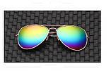 Очки авиатор  разноцветные золотая оправа, фото 2