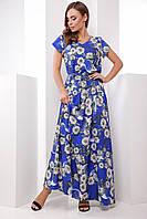 Нарядное летнее длинное платье-сарафан синее в белые цветы