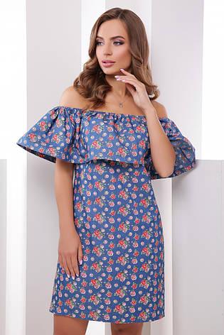 Легке коротке плаття з широким воланом відкриті плечі принт троянди, фото 2