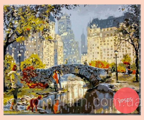 нарисованная картина старинный мостик