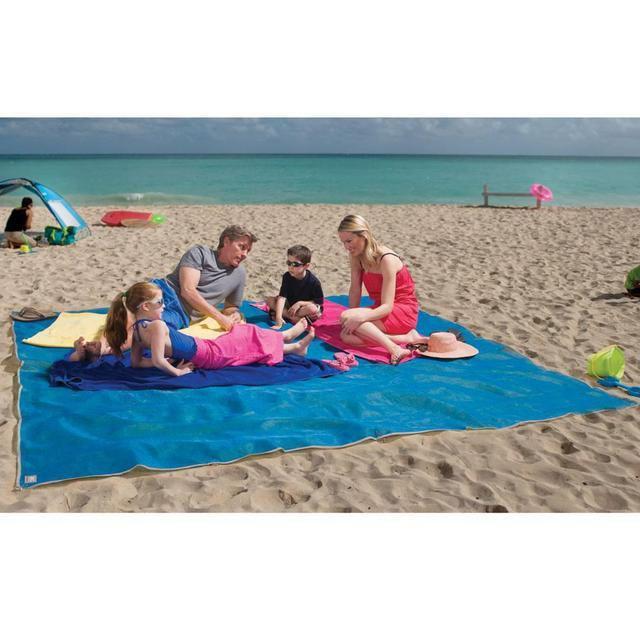 Пляжное покрывало анти песок 150*200 см голубое