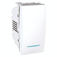 Выключатель одноклавишный с подсветкой, белый