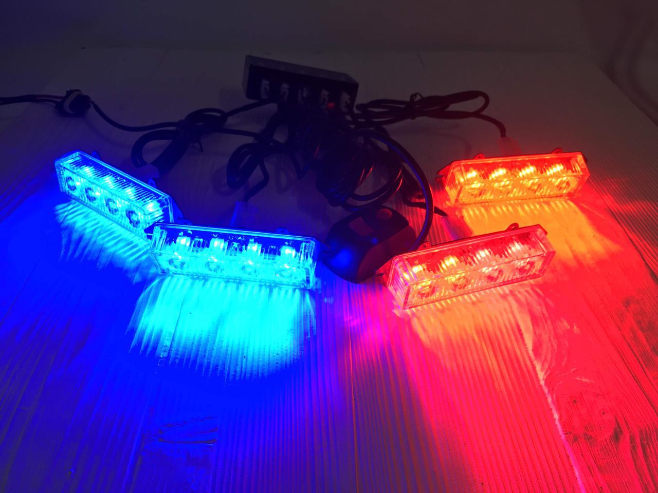 Стробоскоп LED 4-2-16 красно-синий или синий 12 Вольт