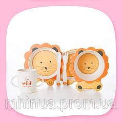 Набір дитячого посуду з бамбукового волокна CoEco Левеня