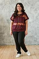 Женский костюм со вставками из пайеток Лойс / цвет бордо / большие размеры / размер 56,58,60