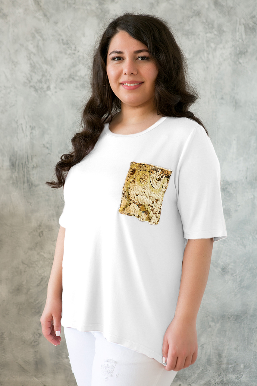639dd29a99717 Я-Модна - купить Женская футболка с карманом на груди Лала белая ...
