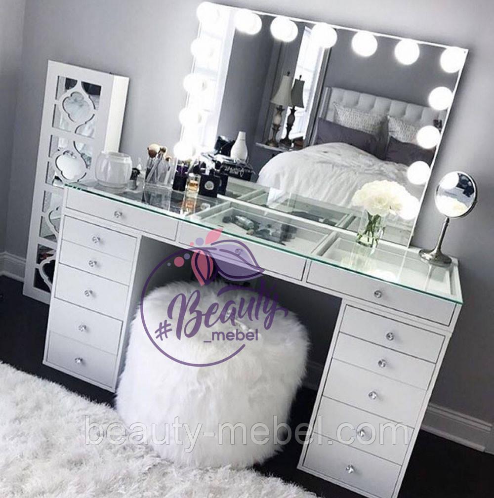 Стол  визажиста с витриной на столешнице, гримерный столик, зеркало с подсветкой, белый