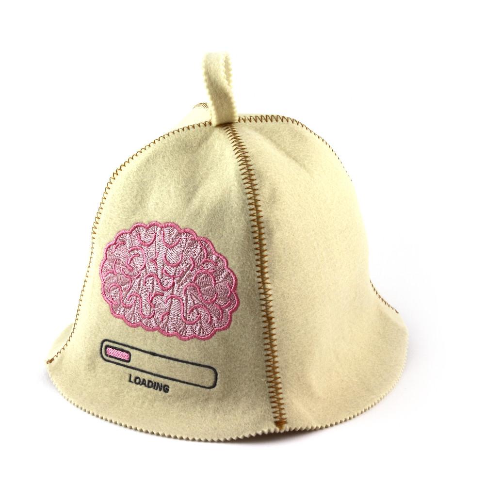 Шапка для сауны (белая), Вынос мозга, искусственный фетр, Saunapro