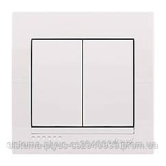 Выключатель двойной белый DERIY Lezard белый