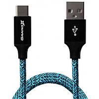Дата кабель Grand-X USB - Type C,  2.4A, Blue/Black, 1m (FC06BLB)