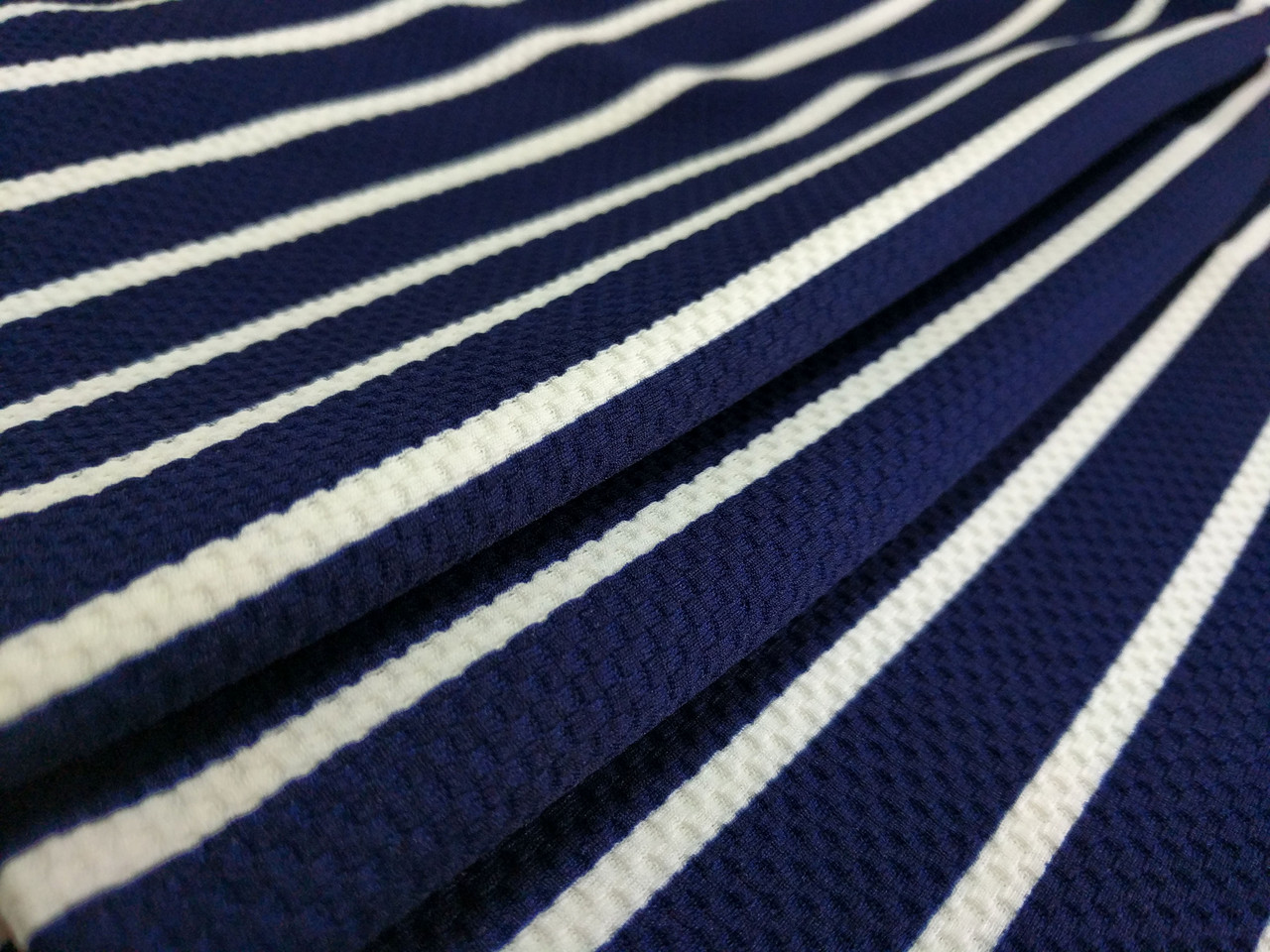 Трикотаж венский рисунок полоска, темно-синий