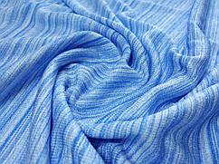 Ткань трикотаж летний полосочка, голубой