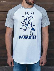 Мужская белая футболка Staff Long paradise TSH0050-1