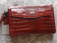 Кожаный клатч стильный универсальный рыжего цвета (Турция)