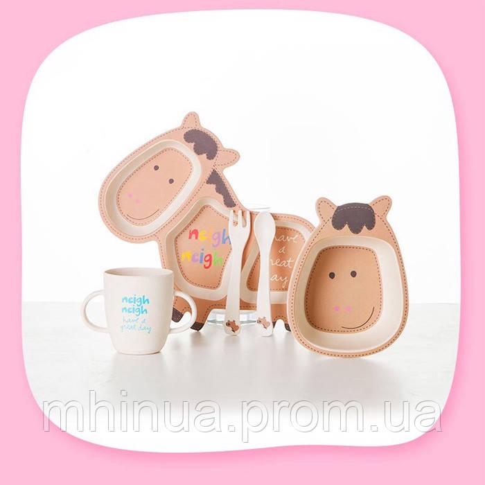 Набор детской посуды из бамбукового волокна CoEco Пони