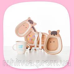 Набір дитячого посуду з бамбукового волокна CoEco Поні
