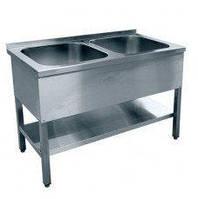 Ванна моечная 2-секционная сварная нержавеющая сталь с полкой, фото 1