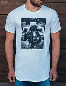 Мужская белая футболка Staff Long oxygen TSH0054-1