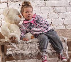 Костюм велюровый для девочки Lovely KİDS серый в полосочку (р. 74-104 см)(Nicol, Польша)